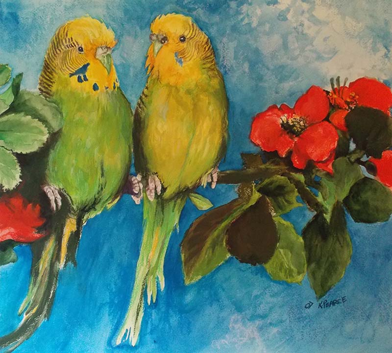 Pet Bird Watercolor Pastel