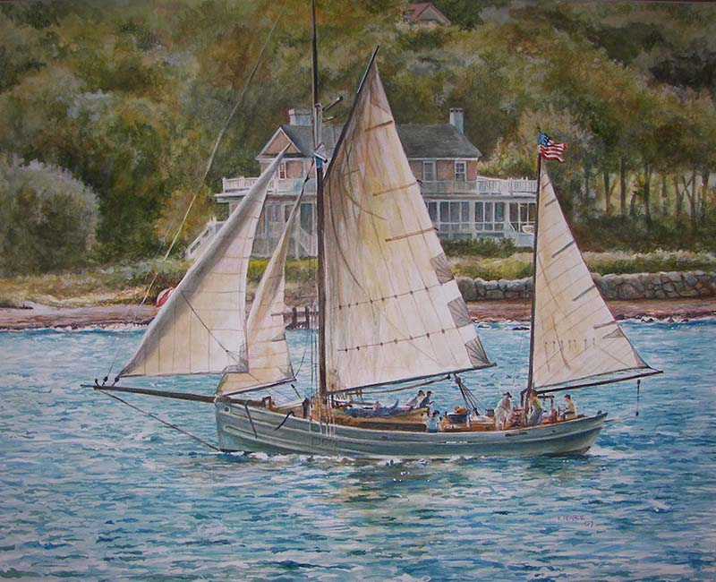 Sailboat Watercolor Martha's Vineyard