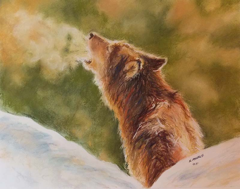 Wolf Howling Pastel Watercolor