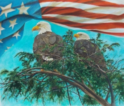Eagle Couple American Flag