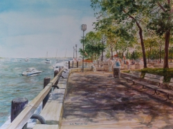 Boardwalk Harbor With Boats